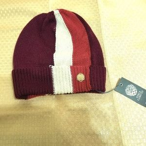 Vince Camuto Women's Merlot Striped Beanie Hat New